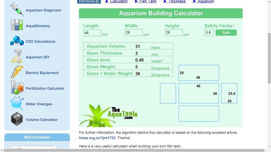 aquarium glass thickness calculator