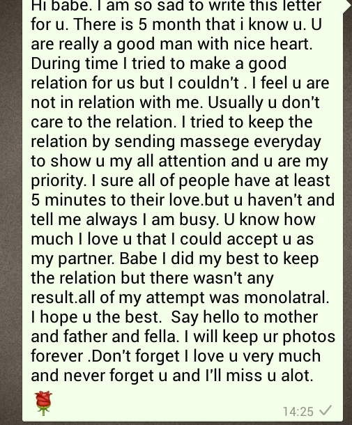 Goodbye letter to ex girlfriend